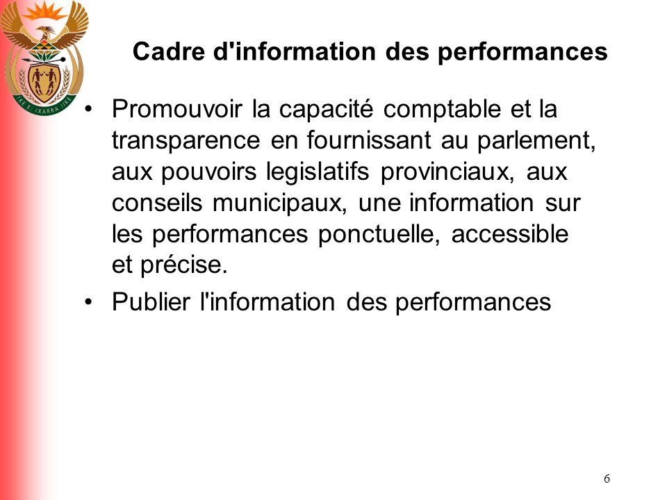 Cadre d information des performances