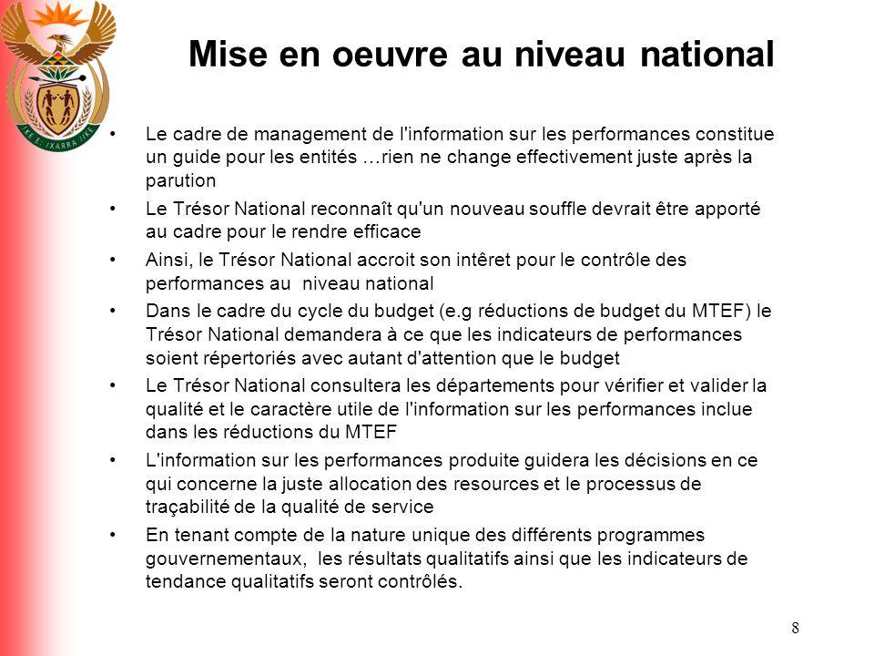 Mise en oeuvre au niveau national