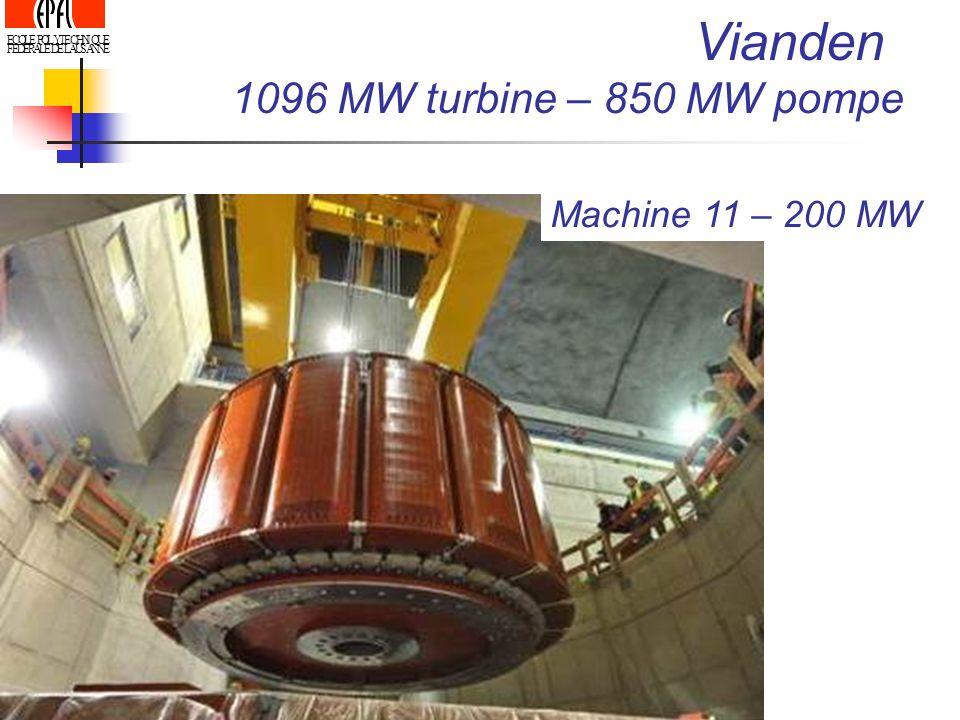 Vianden 1096 MW turbine – 850 MW pompe Machine 11 – 200 MW