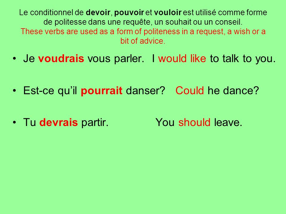 Je voudrais vous parler. I would like to talk to you.