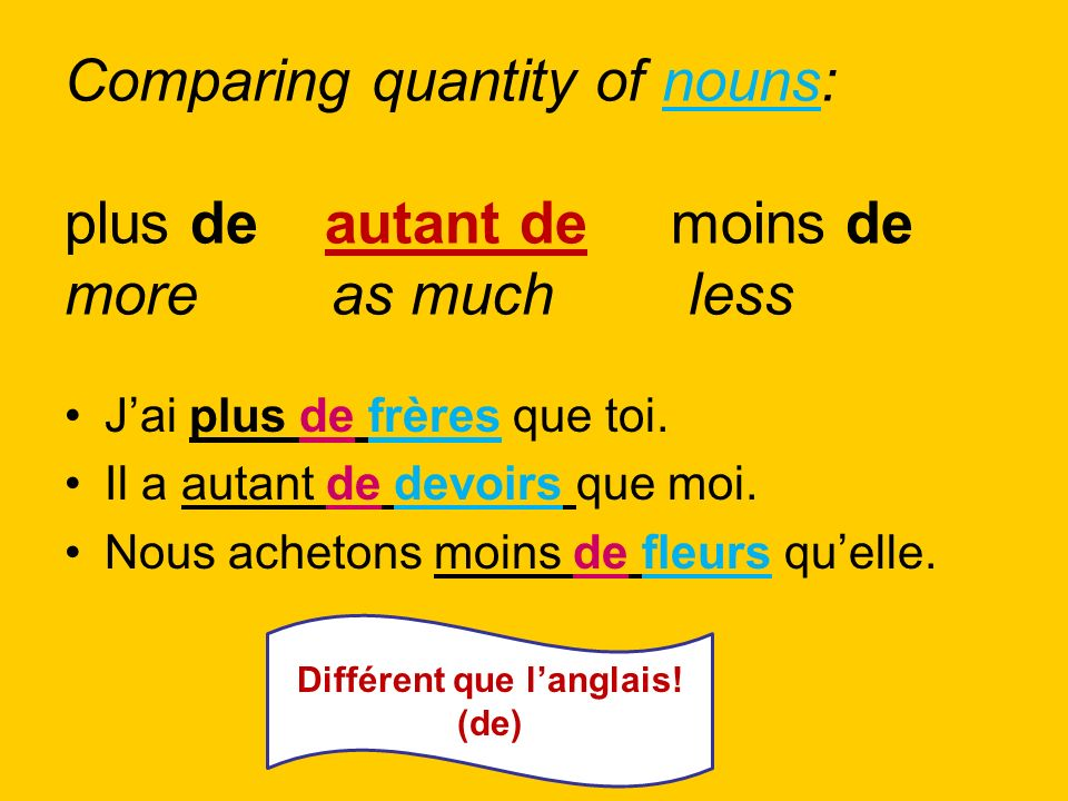 Différent que l'anglais! (de)