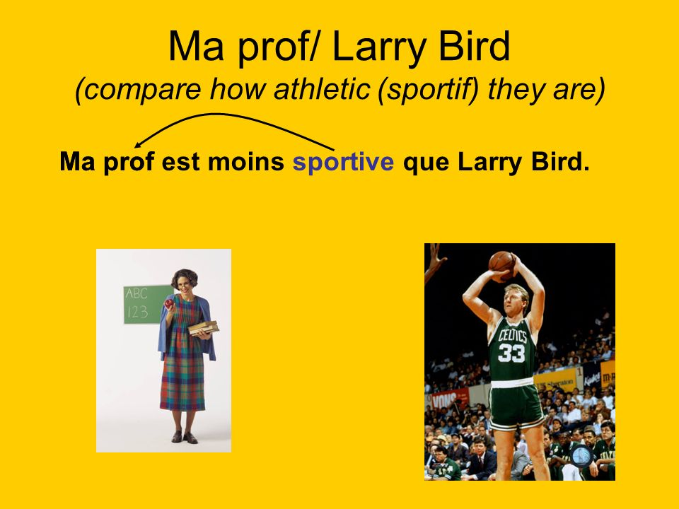 Ma prof/ Larry Bird (compare how athletic (sportif) they are)