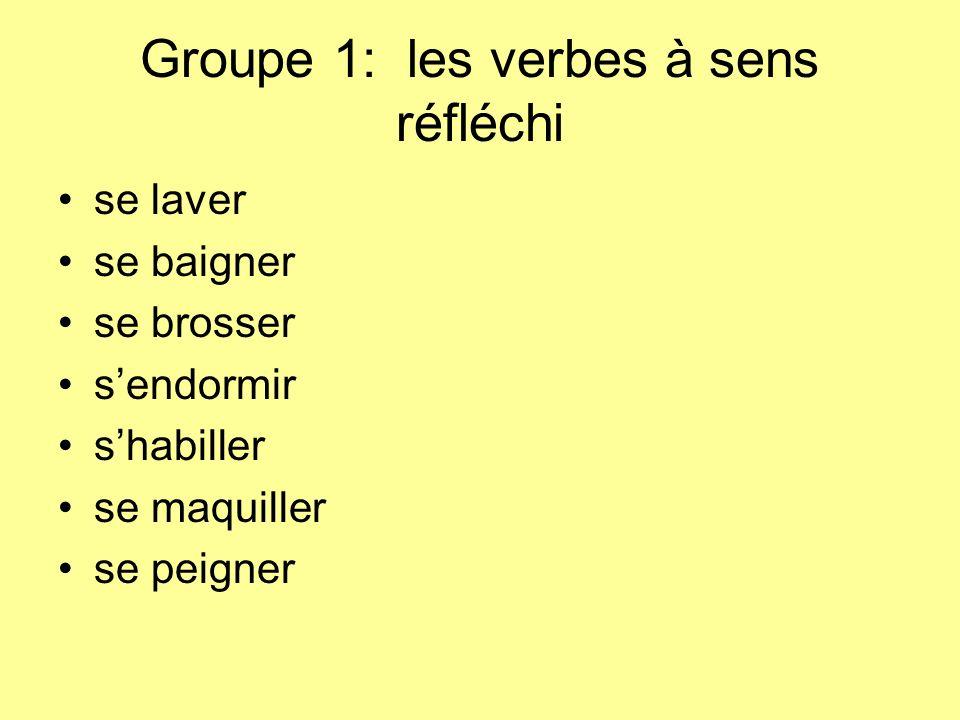 Groupe 1: les verbes à sens réfléchi