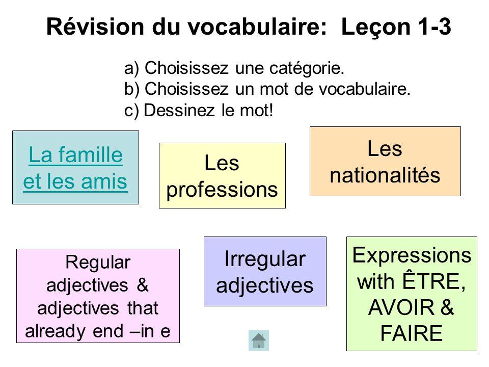 Révision du vocabulaire: Leçon 1-3