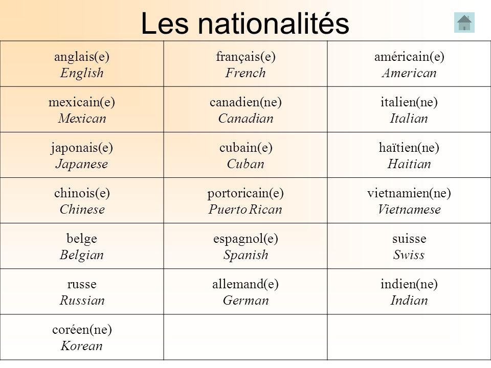 Les nationalités anglais(e) English français(e) French américain(e)