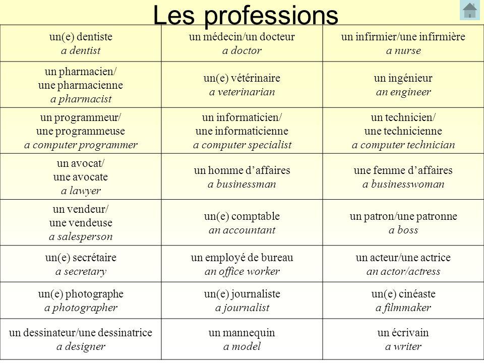 Les professions un(e) dentiste a dentist un médecin/un docteur