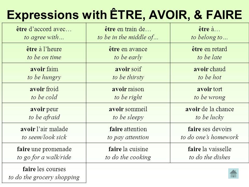Expressions with ÊTRE, AVOIR, & FAIRE