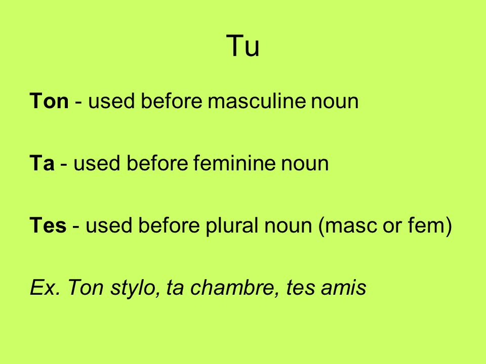 Tu Ton - used before masculine noun Ta - used before feminine noun