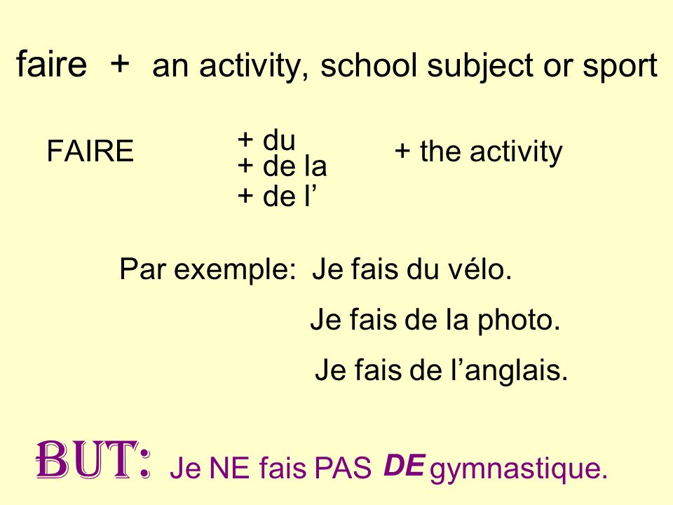 faire + an activity, school subject or sport
