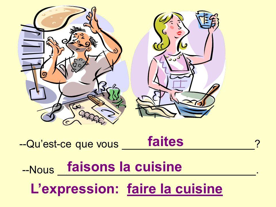 L'expression: faire la cuisine