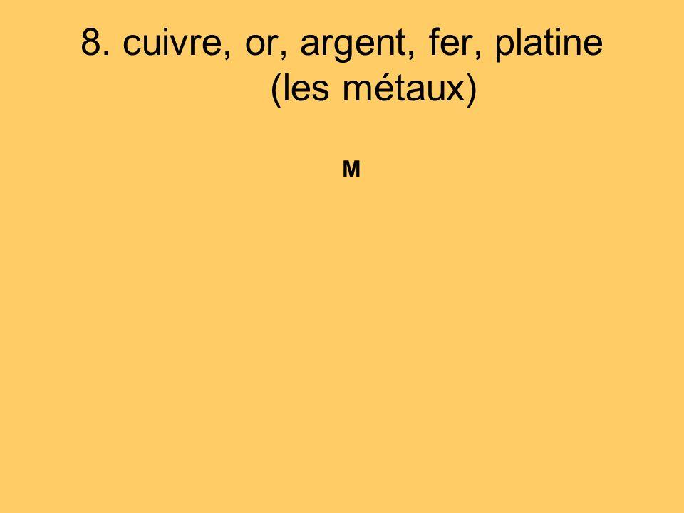 8. cuivre, or, argent, fer, platine (les métaux)