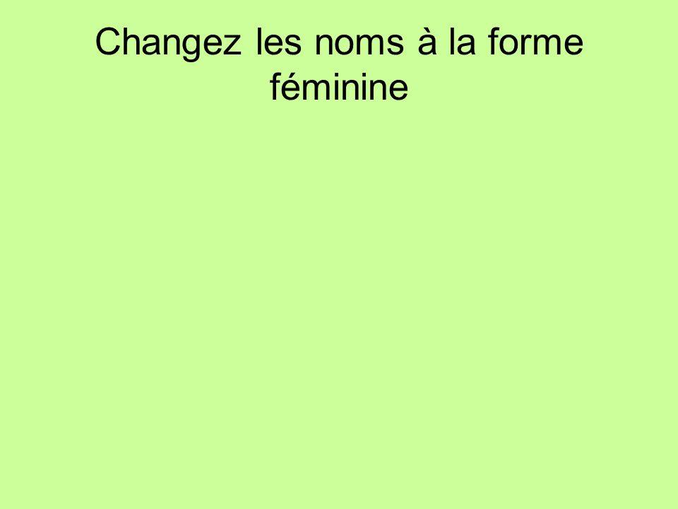 Changez les noms à la forme féminine