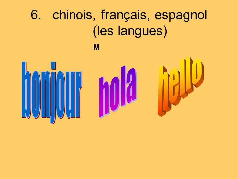 chinois, français, espagnol (les langues)