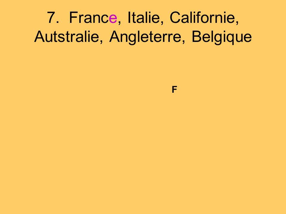 7. France, Italie, Californie, Autstralie, Angleterre, Belgique