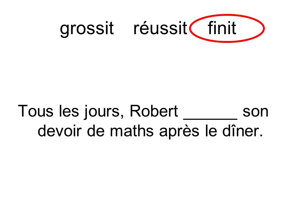 grossit réussit finit Tous les jours, Robert ______ son devoir de maths après le dîner.