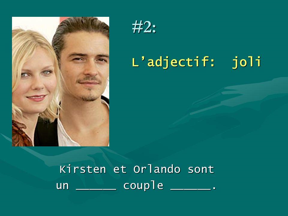 #2: L'adjectif: joli Kirsten et Orlando sont un ______ couple ______.