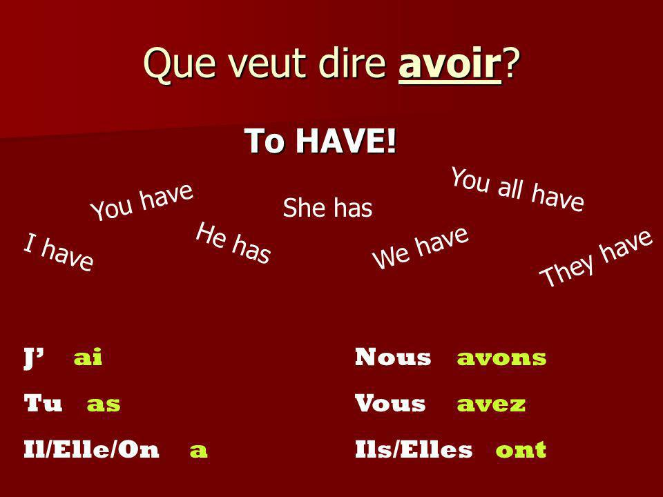 Que veut dire avoir To HAVE! You all have You have She has He has