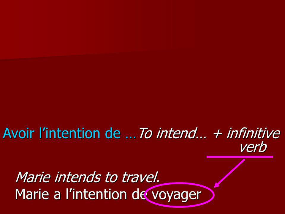 Avoir l'intention de …To intend… + infinitive verb