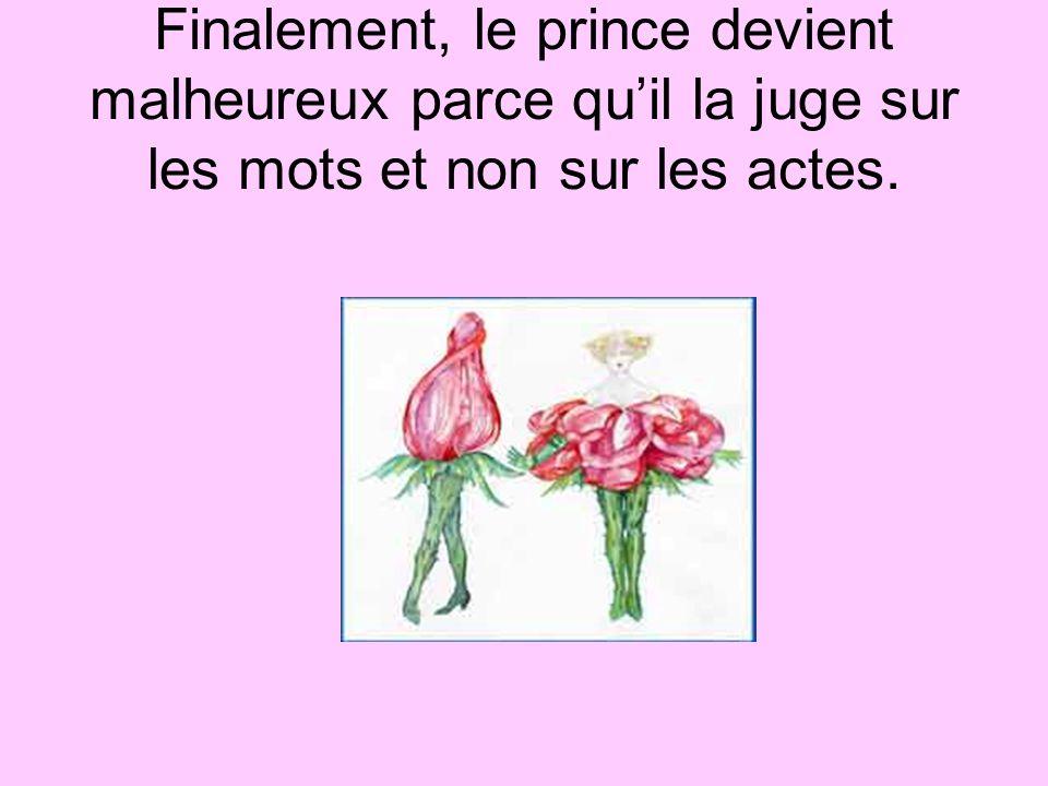 Finalement, le prince devient malheureux parce qu'il la juge sur les mots et non sur les actes.
