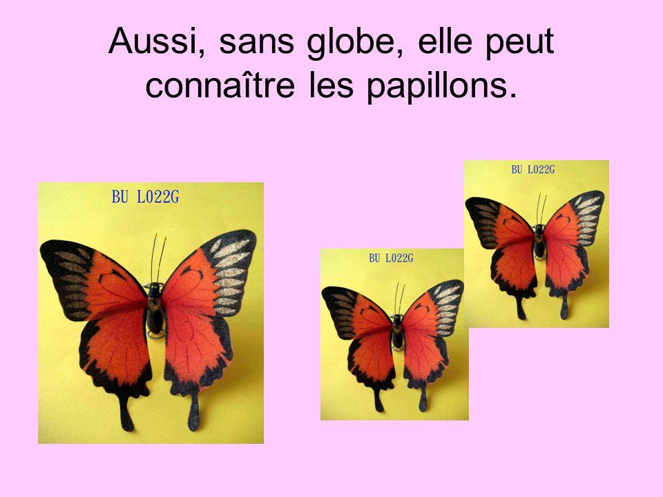 Aussi, sans globe, elle peut connaître les papillons.