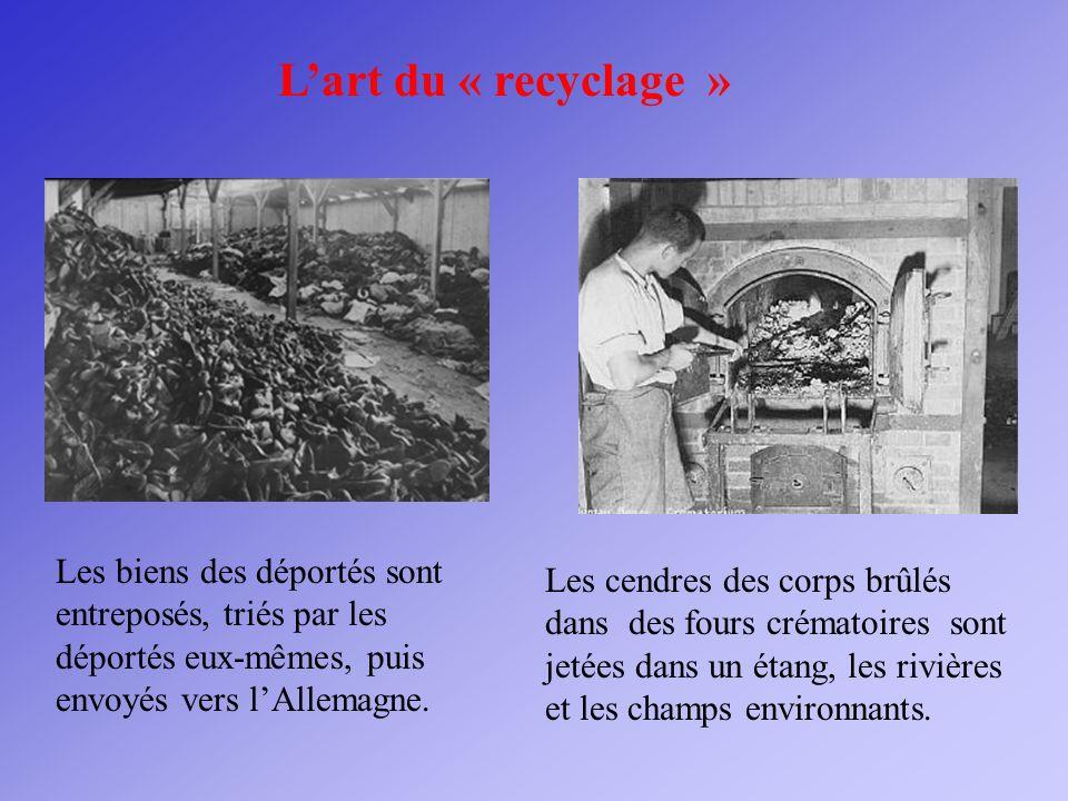 L'art du « recyclage » Les biens des déportés sont entreposés, triés par les déportés eux-mêmes, puis envoyés vers l'Allemagne.