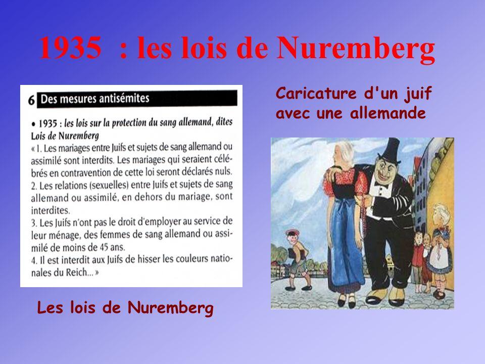 1935 : les lois de Nuremberg Caricature d un juif avec une allemande