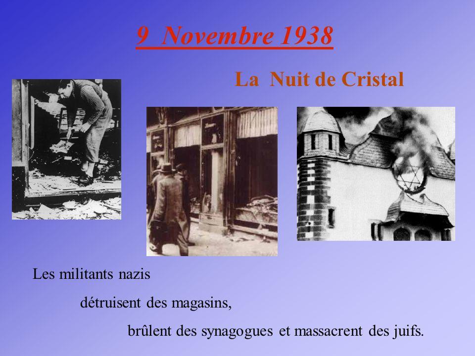 9 Novembre 1938 La Nuit de Cristal Les militants nazis