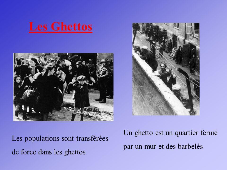 Les Ghettos Un ghetto est un quartier fermé par un mur et des barbelés
