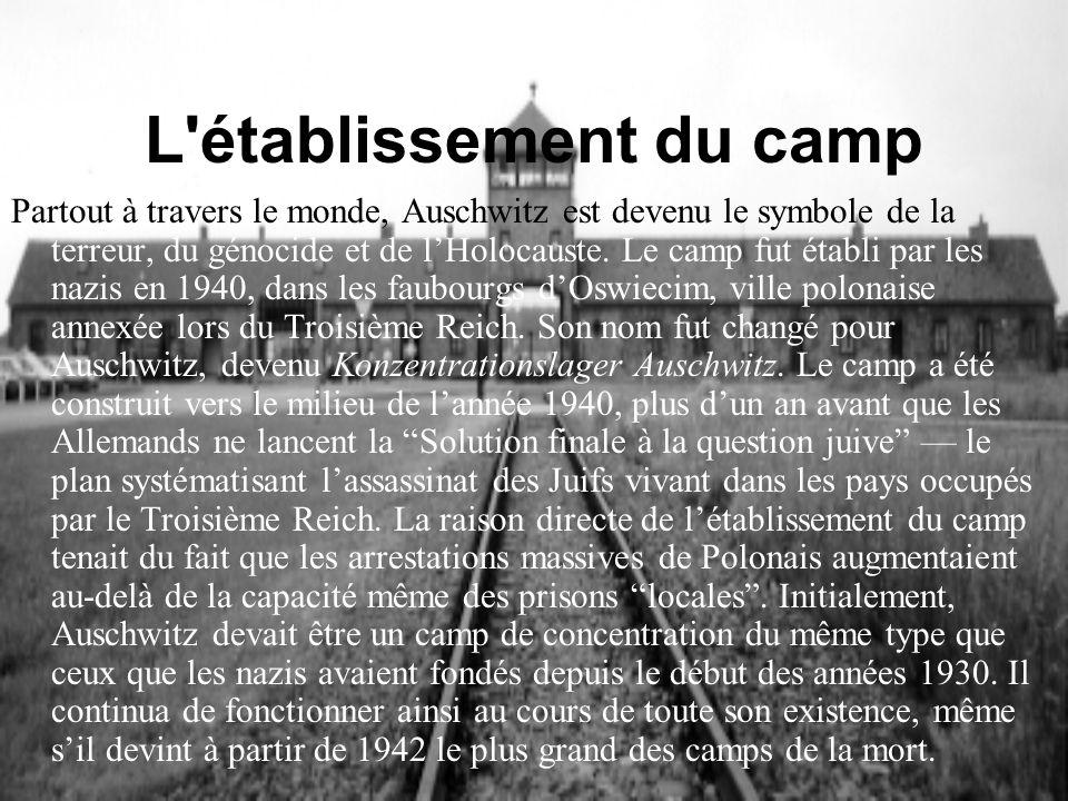 L établissement du camp