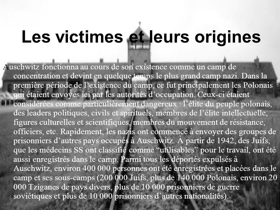 Les victimes et leurs origines