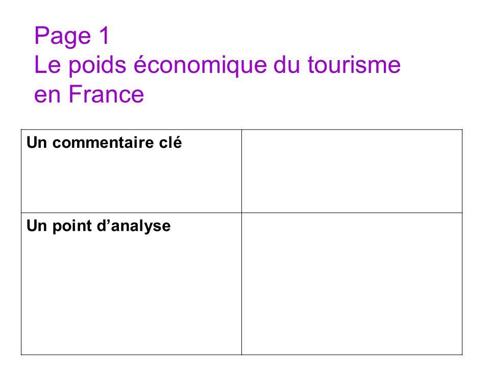 Page 1 Le poids économique du tourisme en France