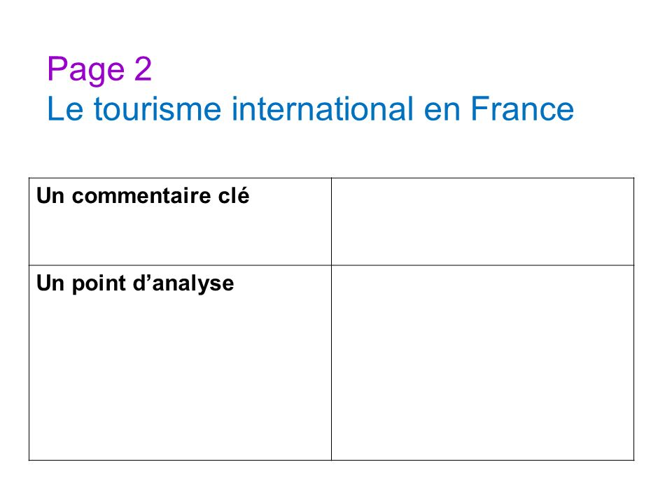 Page 2 Le tourisme international en France
