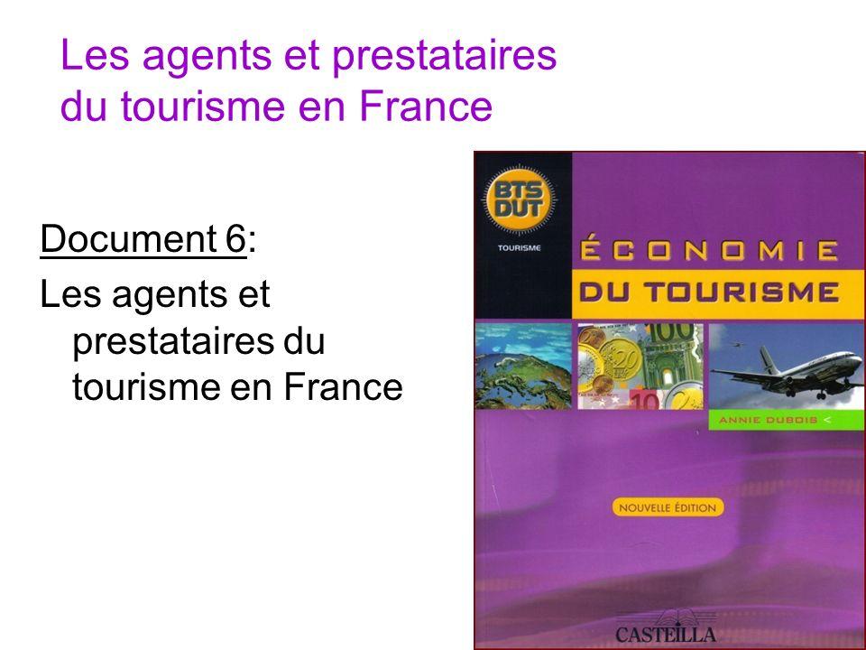 Les agents et prestataires du tourisme en France