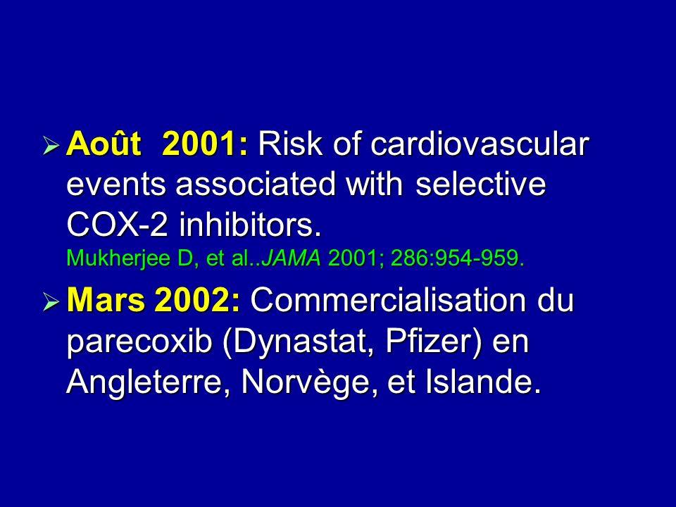 Août 2001: Risk of cardiovascular events associated with selective COX-2 inhibitors. Mukherjee D, et al..JAMA 2001; 286:954-959.