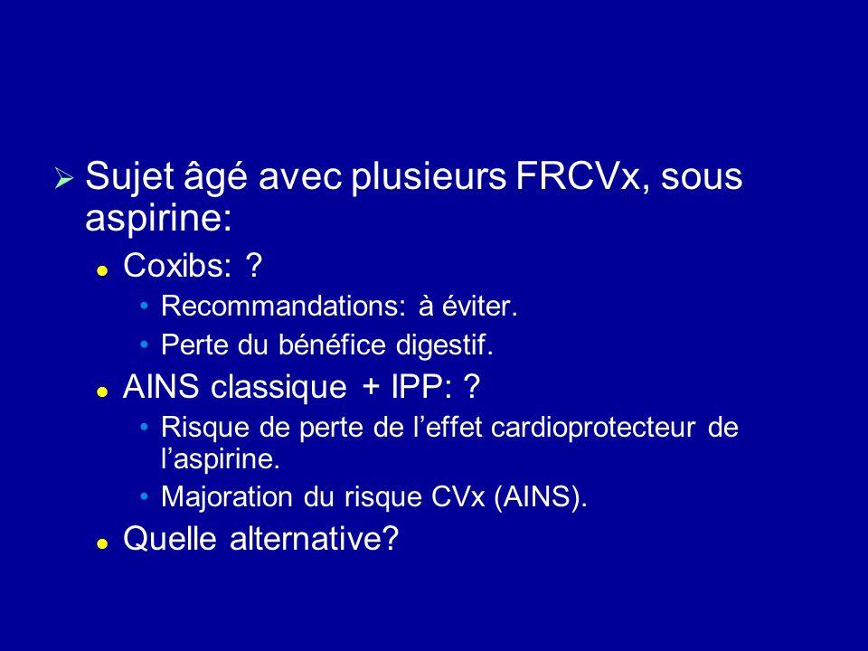 Sujet âgé avec plusieurs FRCVx, sous aspirine: