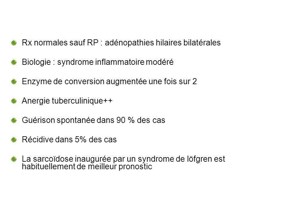 Rx normales sauf RP : adénopathies hilaires bilatérales