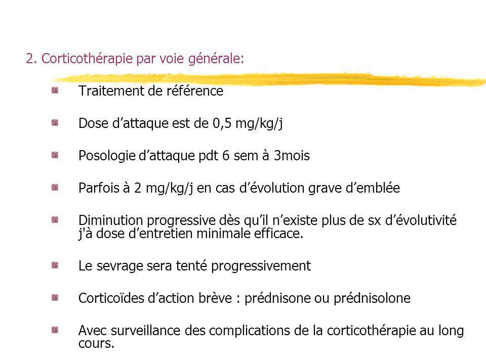 2. Corticothérapie par voie générale: