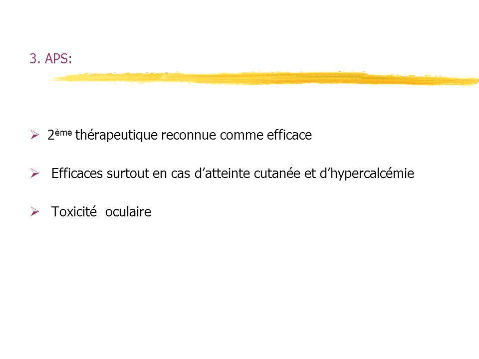 3. APS: 2ème thérapeutique reconnue comme efficace. Efficaces surtout en cas d'atteinte cutanée et d'hypercalcémie.