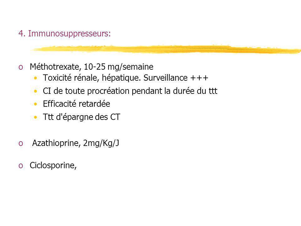 4. Immunosuppresseurs:Méthotrexate, 10-25 mg/semaine. Toxicité rénale, hépatique. Surveillance +++ CI de toute procréation pendant la durée du ttt.