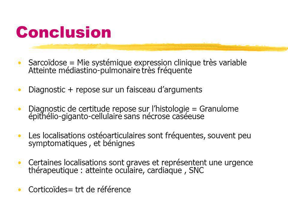 Conclusion Sarcoïdose = Mie systémique expression clinique très variable Atteinte médiastino-pulmonaire très fréquente.