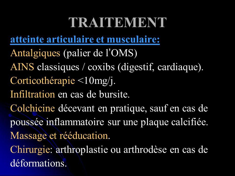 TRAITEMENT atteinte articulaire et musculaire: