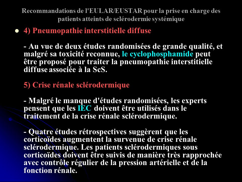 Recommandations de l EULAR/EUSTAR pour la prise en charge des patients atteints de sclérodermie systémique