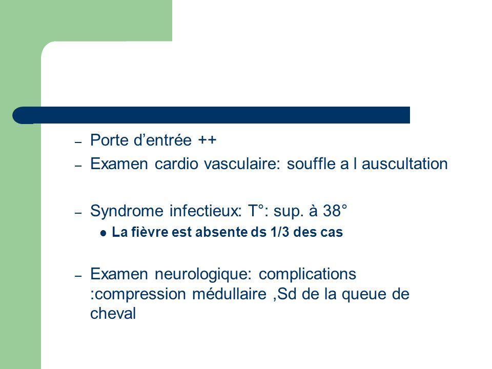 Examen cardio vasculaire: souffle a l auscultation