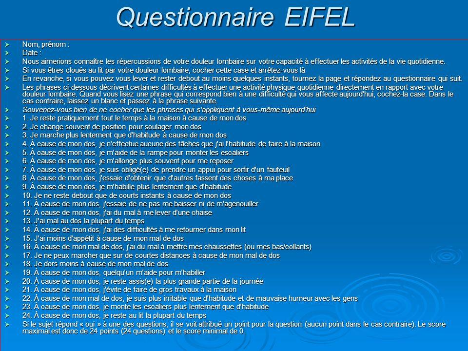 Questionnaire EIFEL Nom, prénom : Date :