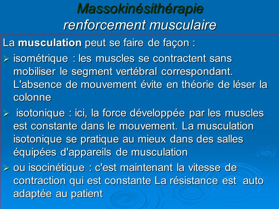 Massokinésithérapie renforcement musculaire
