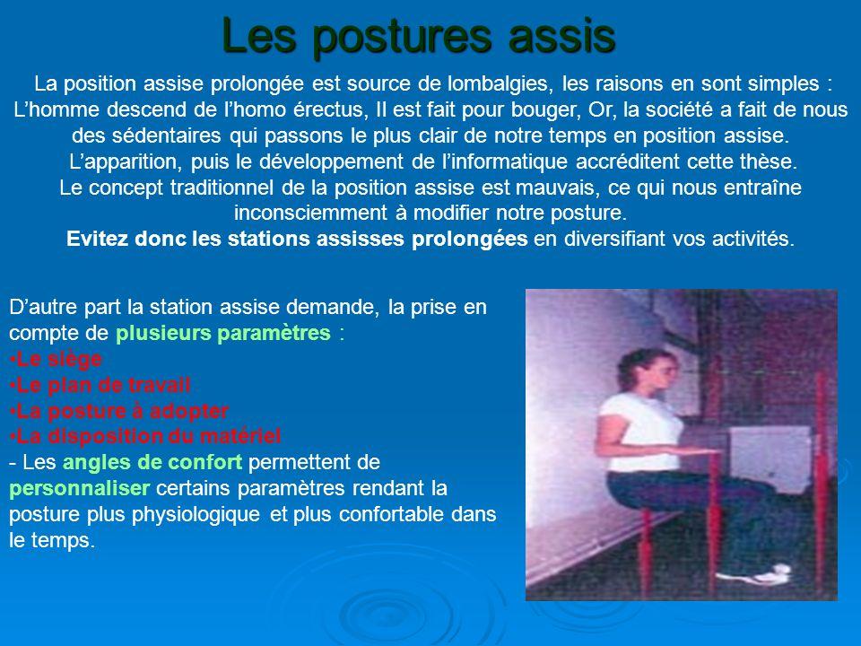 Les postures assis La position assise prolongée est source de lombalgies, les raisons en sont simples :