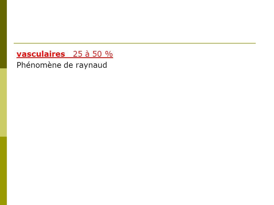 vasculaires _25 à 50 % Phénomène de raynaud
