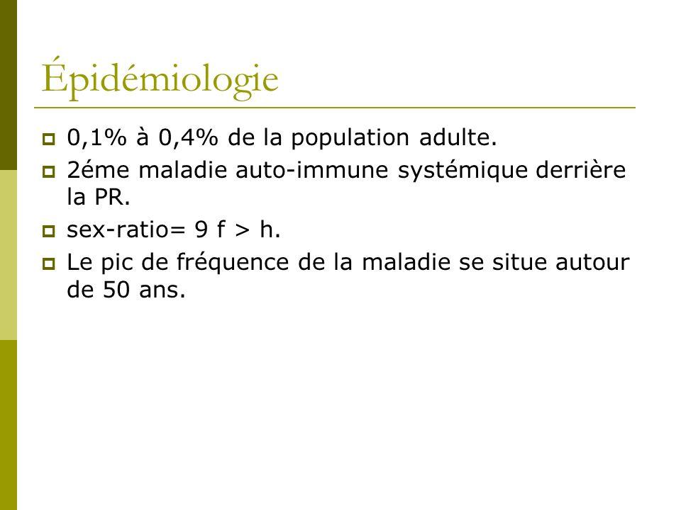 Épidémiologie 0,1% à 0,4% de la population adulte.