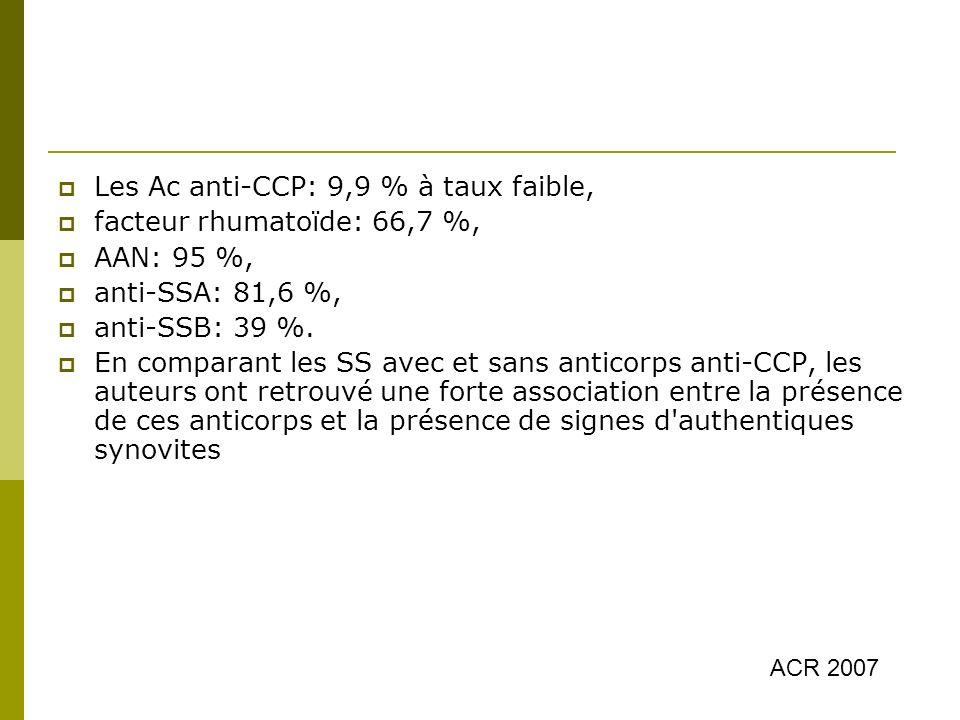 Les Ac anti-CCP: 9,9 % à taux faible, facteur rhumatoïde: 66,7 %,