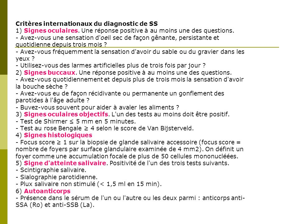 Critères internationaux du diagnostic de SS